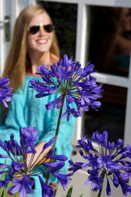 Agapanthus Brilliant Blue on patio